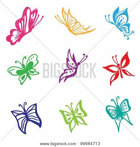 Beautiful, butterfly, vector, set, sketch style, white background