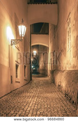 Night street in Mala Strana, Prague, Czechia