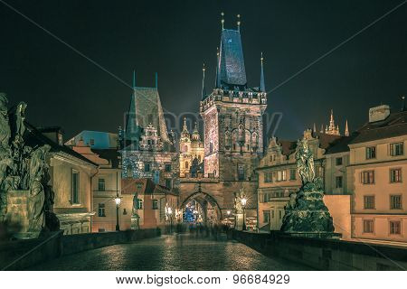 Charles Bridge in Prague, Czech Republic, at night