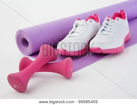 Fitness Shoes And Hand Weights