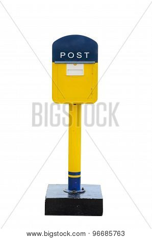 Yellow Mail Box Isolated Over The White Background