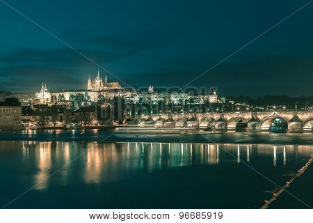 Prague Castle and Charles Bridge at night, Czechia