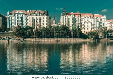 Vltava River and Old Town in Prague, Czechia
