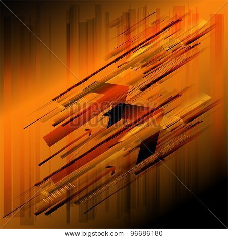 Abstract retro technology lines orange background
