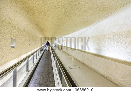 Long Moving Staircases In Terminal 1 At Airport Charles De Gaulle
