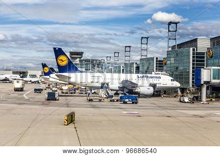 Terminal 1 With Passenger Airplanes In Frankfurt