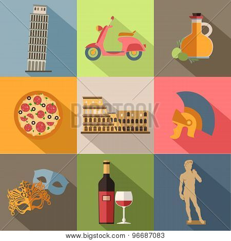 Set of Italy travel colorful flat icons, Italy symbols with long shadow for your design.