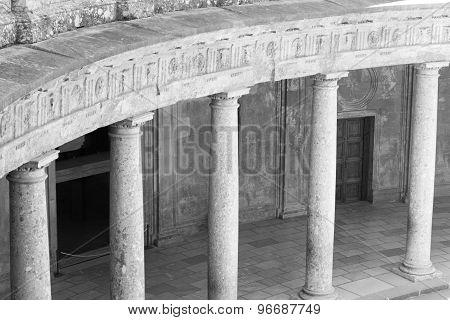 Black And White Columns At The Charles V Palace