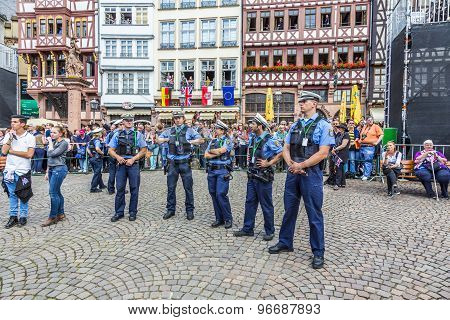 Police Pays Attention For The Visit Of Queen Elizabeth Ii In Frankfurt