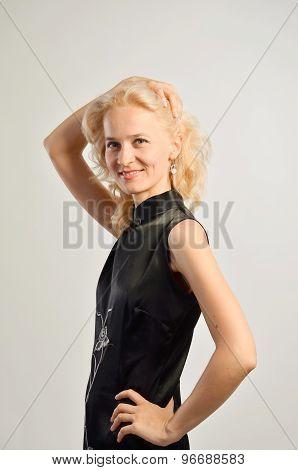 Caucasian woman half-length portrait