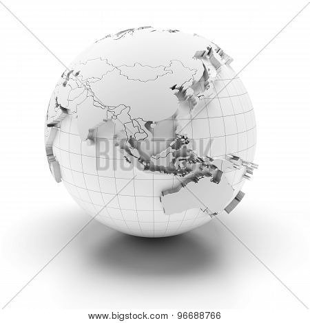 Globe with extruded continents, Asia and Australia regions