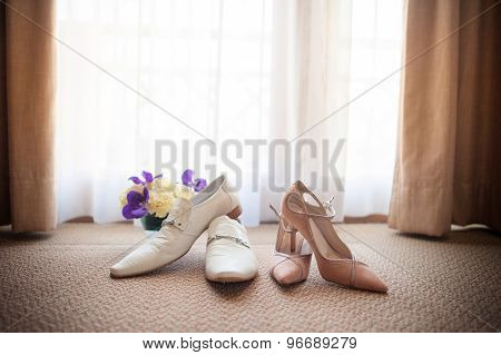 Wedding Shoes Groom White Shoes Pink Female Shoes Sunset