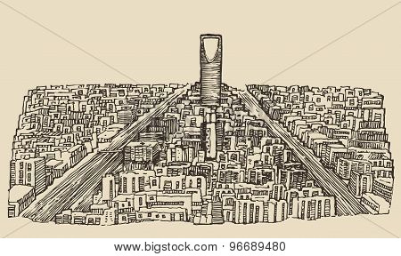 Riyadh skyline engraved vector hand drawn sketch