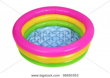 a colorful inflatable swimming pool on a white background