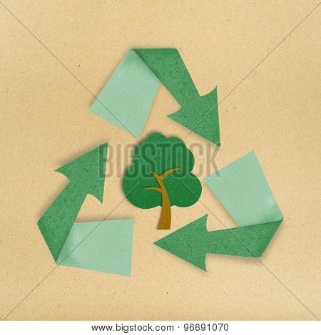 Tree Recycled Paper Craft Stick Sign On Paper
