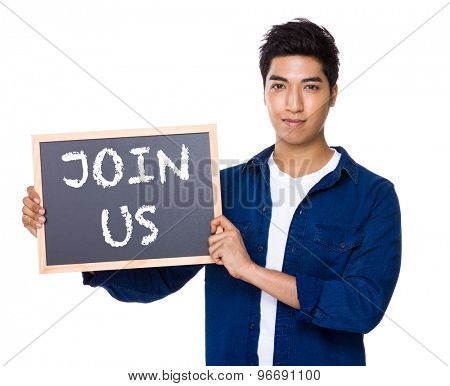 Asian mixed Indian man with blackboard showing a phrase of join us
