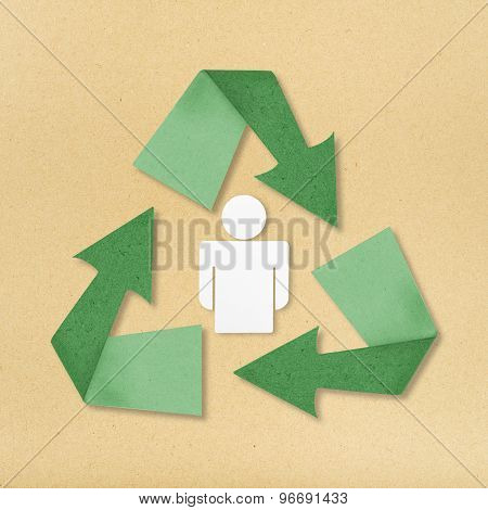 Recycle Man Figure With Eco Stuff On Paper Background.