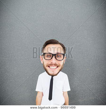 Geeky businessman against grey background