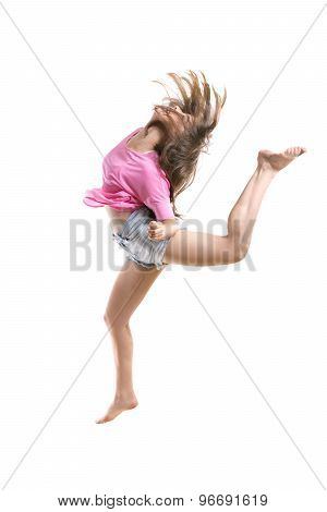 Agile Teenage Dancer Jumping High In The Air