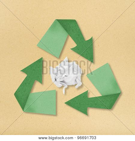 Recycle Crumpled Paper Recycling Symbol On Paper Background.