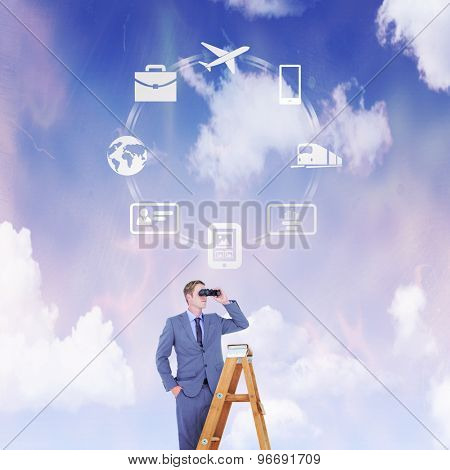 Businessman looking on a ladder against blue and purple sky