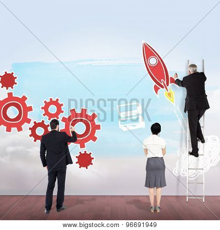 Business team writing against clouds in a room