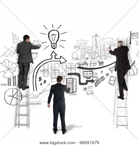 Business team writing against white background with vignette