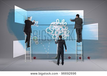Business team writing against abstract room