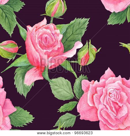 Rose Botanical Watercolor Pattern