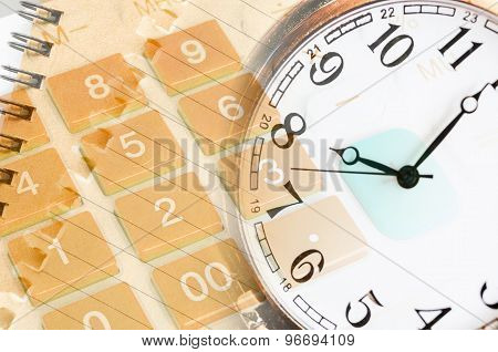 Business Concept With Calculator And Pocket Watch.