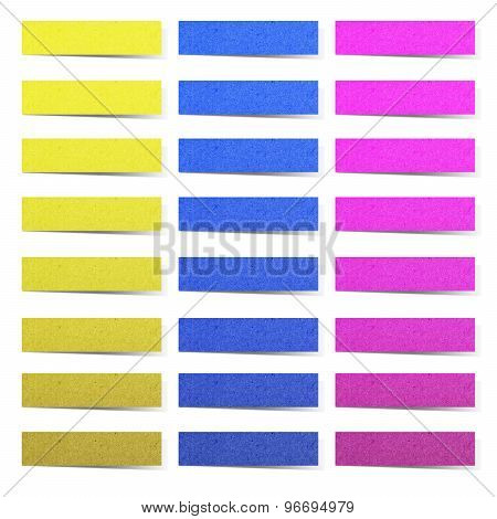 Ripped Colorful Sticky Papers On White Background.