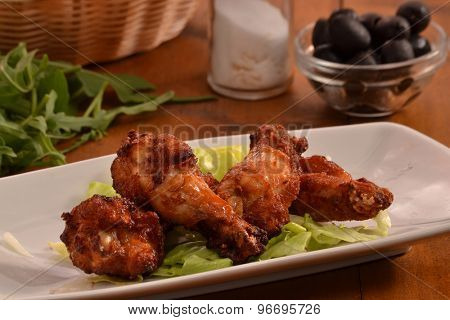 Buffalo chicken wings dish and ingredients.