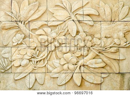 Low Relief Cement Thai Style Handcraft Of Plumeria Or Frangipani Flowers
