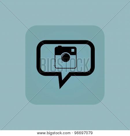 Pale blue square camera message
