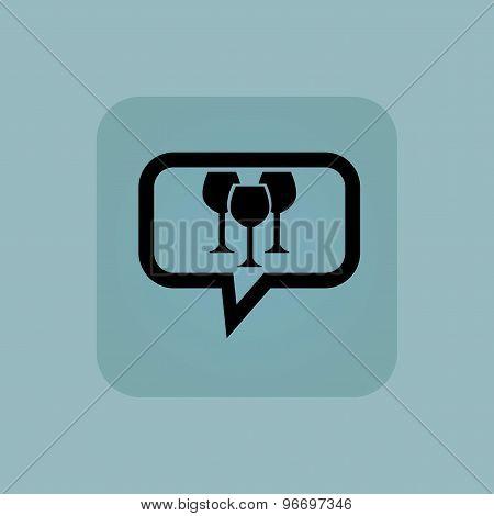 Pale blue wine glass message
