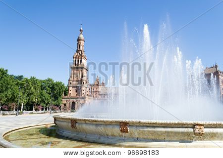 Fountain And Tower At Spain Square