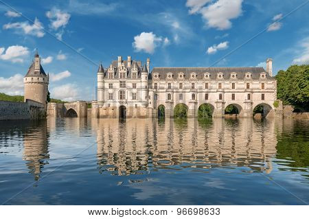 Chenonceau castle built over the Cher river , Loire Valley, France
