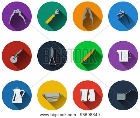 Set Of Utensils Icons In Flat Design