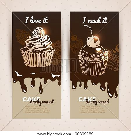 Vector sweet background. Hand drawn illustration with cake.
