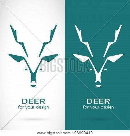 Vector Image Of A Deer Head Design On White Background And Blue Background, Logo, Symbol