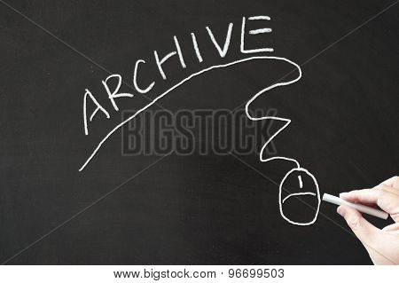Archive Word And Mouse Sign