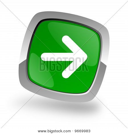 right arrow icon green button