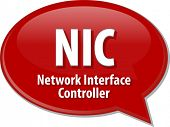 stock photo of nic  - Speech bubble illustration of information technology acronym abbreviation term definition NIC - JPG