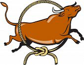 foto of jump rope  - Illustration of a texas longhorn red bull jumping over lasso rope circle viewed from side set on isolated white background done in cartoon style - JPG