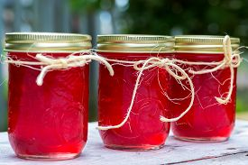stock photo of jar jelly  - Fresh crabapples with jars of crabapple jelly - JPG
