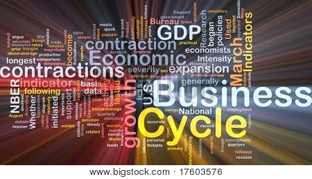 Background concept wordcloud illustration of economic business cycle glowing light