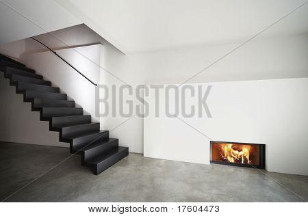 beautiful  loft duplex, stairs and fireplace
