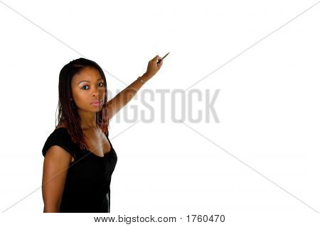 Lady Pointing With Pen