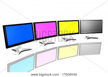 CMYK monitors isolated over white background