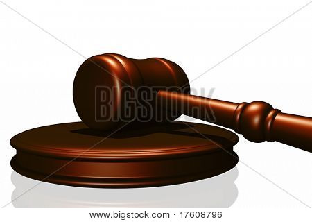 Wooden gavel from the court isolated in white background